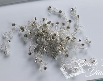 Wedding hair jewelry, transparent pearls and rhinestones bridal hair comb, silver