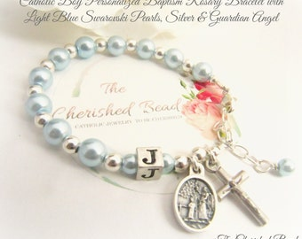 Catholic Boy Baptism Rosary Bracelet with Swarovski Light Blue Pearl, Silver and Guardian Angel