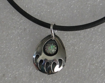 Native American Bear Claw Pendant Sterling Silver and Opal 22mm