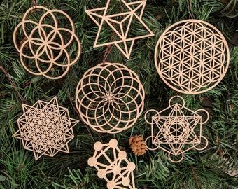 Sacred Geometry Holiday Ornaments - Set of Seven - Laser Cut Wood Wooden Sacred Symbol Flower Seed of Life Christmas Xmas Decoration Merkaba