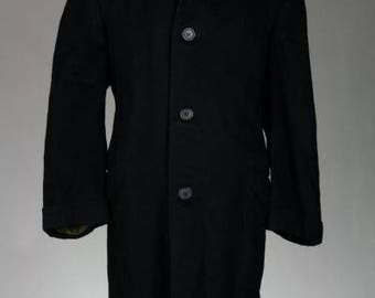 ON SALE Vintage 60s Anderson Little Black Italian Wool Overcoat Top 45 L Coat