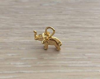 Vermeil Elephant Charm, Gold Charm, Vermeil Charm, 1 pc
