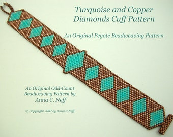 Turquoise and Copper Diamonds Cuff Pattern