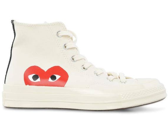 White Converse comme des garcons Play High Top Lady Mens w/ Swarovski Crystal Rhinestone Chuck Taylor Custom All Star Sneakers Trainer Shoes