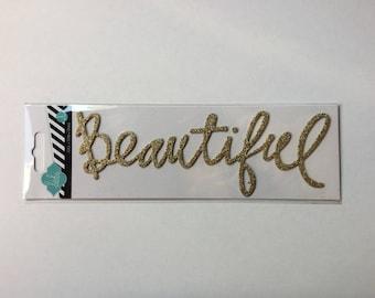 """Beautiful"" Thursday glitter writing Embelissement Heidi Swaap"