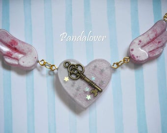 Necklace-Heart wrench with wings-