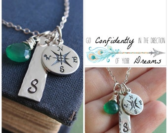 Compass necklace, Graduation gift for her, Necklace with Message Card, Personalized silver initial necklace, custom birthstone necklace