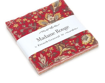"SALE!! Madam Rouge Fabric Charm Pack by French General for Moda Fabrics - 5"" Squares"