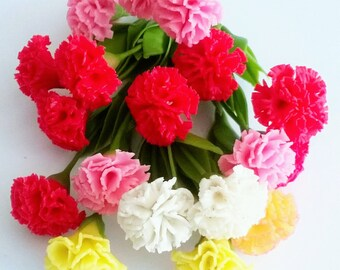 Miniature Polymer Clay Flowers Red, Pink, yellow and White Carnation with Leaves, 12 stems
