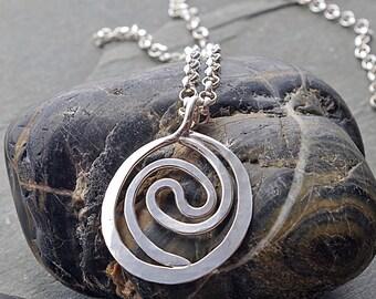 Hammered Silver Spiral Necklace, Spiral Pendant, Sterling Silver Pendant Necklace, Spiral necklace Pendant, Silver Pendant Necklace