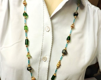 Green and Gold Necklace ...  about 33 inches long