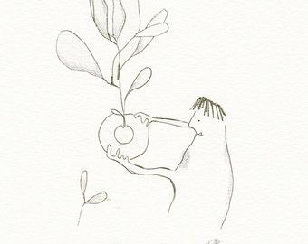 ORIGINAL pencil drawing, original pencil illustration, kitchen art, kitchen wall decor, beetroot illustration, vegetable drawing