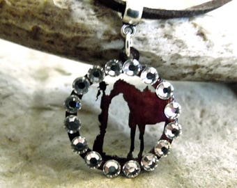 Cowgirl and Horse Necklace, Cowgirl Jewelry, Horse Necklace, Equestrian Jewelry, Horse Lover Gift, Cowgirl Gift