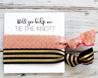 Bridesmaid Hair Ties | Bridesmaid Gift | Will You Help Me Tie The Knot | Pink Gold Chevron, Black Gold| Wedding Favor | Bridal Shower Favor