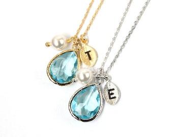 March birthstone necklace, Personalized aquamarine necklace, Birth jewelry, Aquamarine jewelry, Bridesmaid gift, Aquamarine wedding jewelry,
