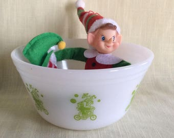Vintage Federal Glass Circus Clown riding a bicycle green rare nesting mixing bowl