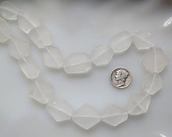 Clear Crystal Frosted Faceted Flat Nugget Beads Avg 17 x 20mm, Half Strand