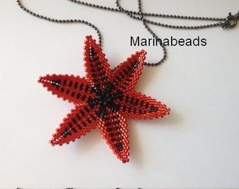 Red Flower pendant made with delicas.