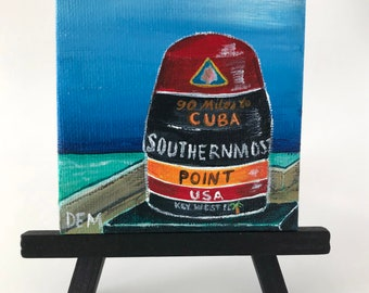 Painting of the Southernmost Point Buoy in Key West, Florida