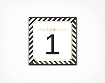 Table Numbers - Printable PDF - INSTANT DOWNLOAD Black White Gold Stripe Wedding Party - Table Cards Signs Number 1 - 20