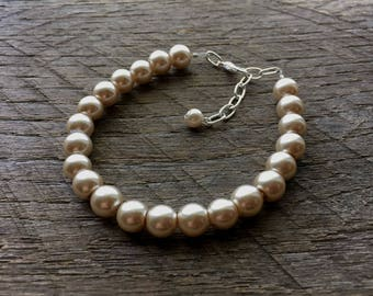Champagne Pearl Bracelet Bridal Bracelet One Single Strand Simple Pearl Bracelet on Silver or Gold Chain
