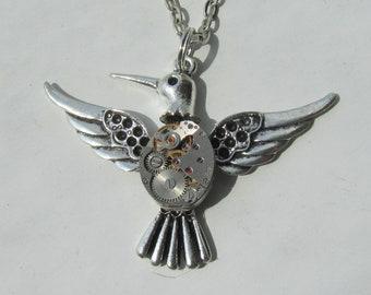 Steampunk Gothic Flying Bird Statement Necklace Pendant vintage watch movement Handmade Jewelry Gift for Her Bird Charm Clockwork Steam punk