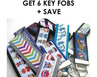 Bridesmaid Gift- Wholesale 6 KEY FOB Wristlet- Wrist Keychain- Best Friend Gift Idea- Womens Key Ring- WRIST Key Chain- Womens Gift Under 10