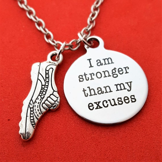Running Charm Necklace, I Am Stronger Than My Excuses, CrossFit Charms, CrossFit Running Charms, Motivational Quotes, Marathon Jewelry Gifts
