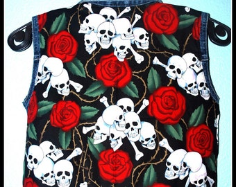 Boys Rockabilly Skulls n Roses Denim Vest....size 4