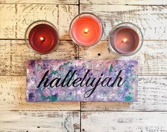 Halleujah Wood Art Sign / Pallet wood sign / Pallet wood art / Purple art sign / Unique gift