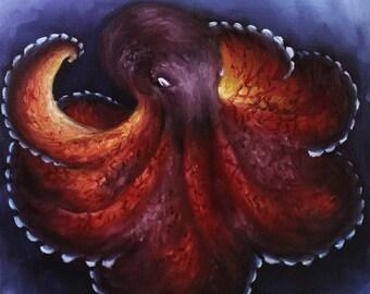 "10x10"" Original Oil Painting - Coconut Octopus Cephalopod Seacreature Oceanlife Wall Art"