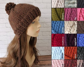 Knit Pom Thick Knit Beanie, Pom Pom Hat, Adult Easter Bonnet, Teen Bonnet, Knit Chunky Hat, Knit Tassel Hat, Knit Beanie, Knit Winter Beanie