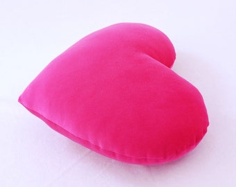 Valentine's Day Gift - Hot Pink Velvet Heart Shaped Decorative Pillow - Small Size