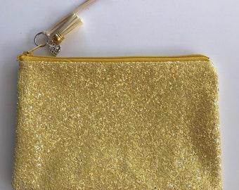 Yellow sequin glitter clutch