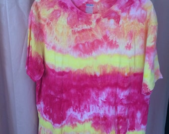 Pink and Lemon Yellow Ice Dyed T-shirt