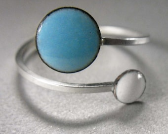 Orbit Enamel Ring, Sky Blue and Snow White, Adjustable Size, Kiln-fired Glass Enamel and Sterling Silver