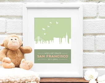 Personalized San Francisco Skyline New Baby Gift, Nursery Art, Skyline, Personalized San Francisco Art, New Baby, Name in Lights, Baby Name