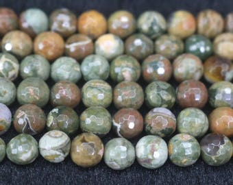 128 Faceted Natural Birdseye Rhyolite Round beads,6mm 8mm 10mm Natural Birdseye Rhyolite beads,15 inches 1 strand