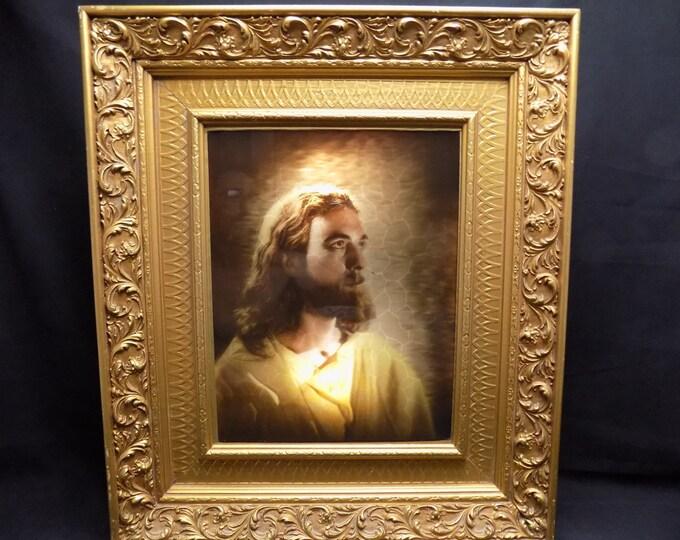 Antique Framed Backlit 3D Image of Jesus Christ Gold Gilt Ornate All Wood Frame