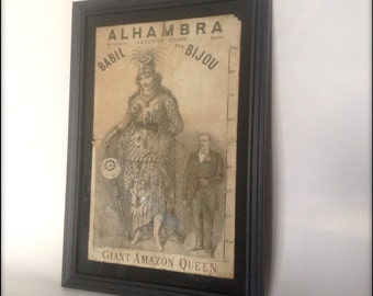 Reproduction Victorian sideshow advert in frame.