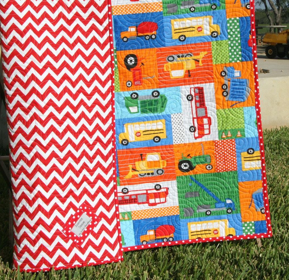 SALE LAST ONE Transportation Baby Quilt Toddler Quilt : transportation quilt - Adamdwight.com