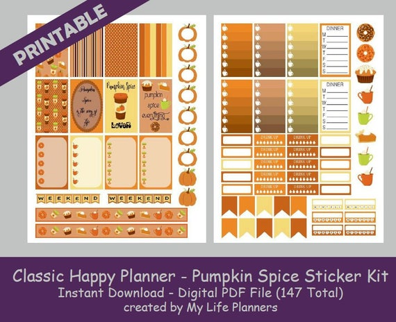 Pumpkin spice classic happy planner printable stickers weekly kit planner kit printable stickers happy planner instant pdf download