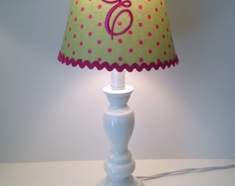 Monogram lamp shade etsy preppy polka dot monogrammed lamp shade mozeypictures Image collections