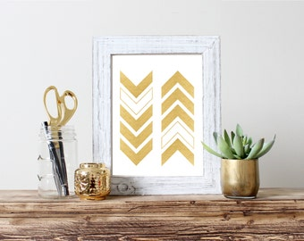 Gold Chevron Gold Foil Print Arrow Chevron 5x7 8x10 11x14 Wall Art Nursery Home Decor