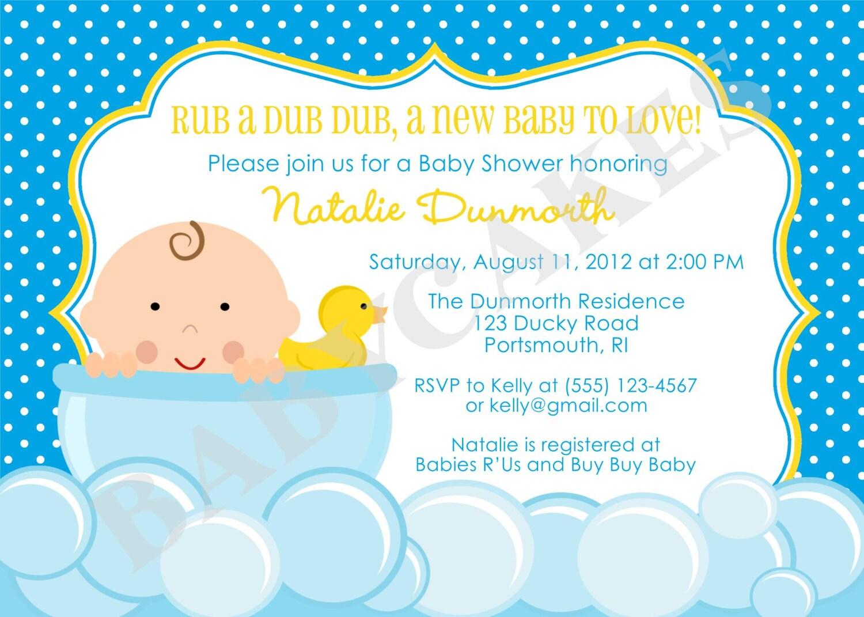 Rubber Ducky Baby Shower Invitation Invite Baby Sprinkle