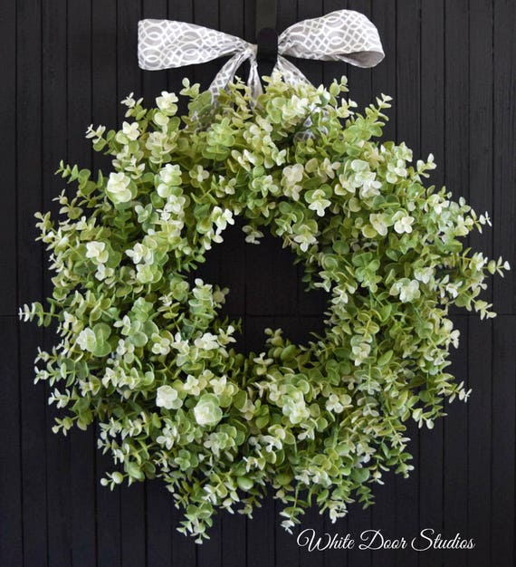Artificial Eulayptus Year Round Front Door Wreath - Light Green