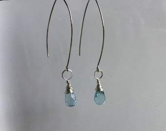 Blue topaz wire wrapped dangle earrings