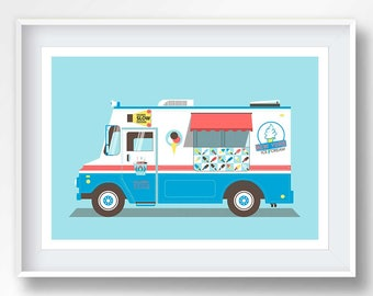 Ice cream truck print, icecream truck poster, icecream truck illustration, new york art, nursery print, kids room, ice cream, icecream, 2085