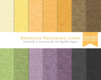 Seamless Halloween Linen Digital Paper Set - Personal & Commercial Use