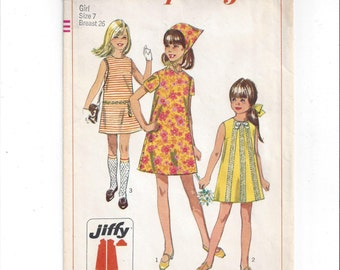 Simplicity 7521 Pattern for Girls' Jiffy Dress & Scarf, Short Sleeves or Sleeveless, From 1967, Size 7, Easy Cut, Easy Sew, Vintage Sewing